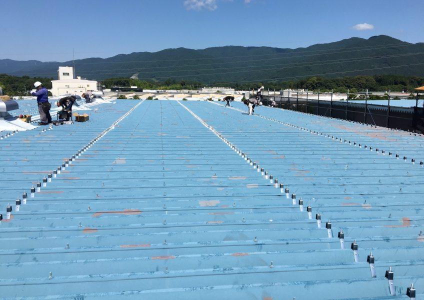 既存の屋根に錆止め処理とビスを取り付けます。